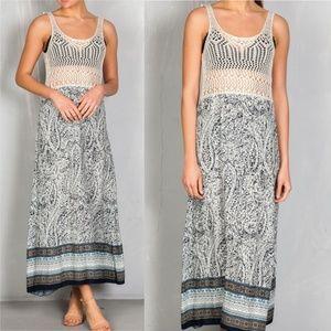 """BOHO BEAUTY"" CROCHET DETAILED  MAXI DRESS"
